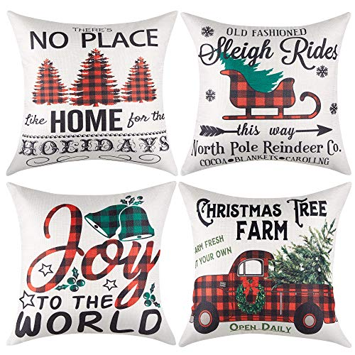 Artmag Christmas Throw Pillow Covers 24x24 Inches Decorative Winter Holiday Buffalo Check Outdoor Farmhouse Christmas Tree Pillow Shams Cases Slipcovers for Coach Sofa Set of 4
