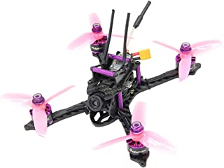 HGLRC XJB145 FPV BNF Racing Drone 145mm Carbon Fiber Frame Kit OSD F4 Flight Controller 1407 3600KV Brushless Motor 28A 4 in 1 ESC 350mW Switchable VTX (Pink with Frsky XM+ Receiver )