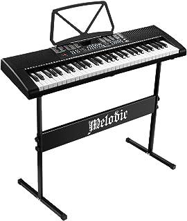Melodic 61-Key Electronic Piano Keyboard Portable Digital Keyboard LED Display 255 Rhythms & Timbres, 24 Demo Songs,MIC Ja...