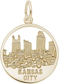 10k Yellow Gold Kansas City Skyline Charm, Charms for Bracelets and Necklaces