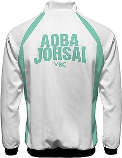 Giacca da uomo Haikyuu Anime Volleyball Club High School Team Uniform Karasuno Outwear Unisex Manga Full Zip Karasuno Cosp...