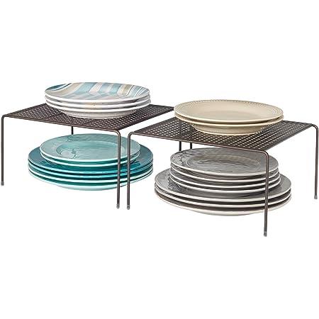 mDesign étagère cuisine (lot de 2) – rangement cuisine autoportant en métal – petit range vaisselle de cuisine pour tasses, assiettes, aliments, etc. – couleur bronze
