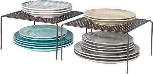 mDesign étagère cuisine (lot de 2) – rangement cuisine autoportant en métal – petit range vaisselle de cuisine pour t...