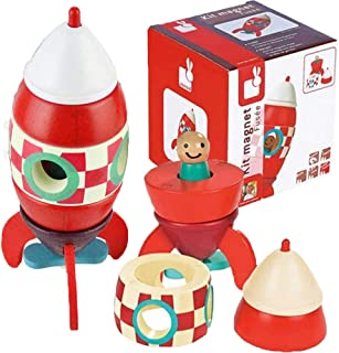 Space Rocket Ship Toys with Astronaut for Kids, 2 Pcs Wooden Spaceship Magnetic Rocket Toys DIY Assembly for Toddler, Educational Discovery Space Center Kit Magnet Toy Figure Playset Gift for Age 3+