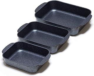 S·KITCHN Lasagna Pan Kit Roasting Pan Set Bread Pan Kit, Casseroles Pans, Roaster Pan Kit Nonstick Bakeware Set, Non-stick Bread Baking Pans, 3 Pcs