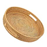 Rattan Basket Round Coffee Table Tray Hand Woven Serving Trays for Ottomans Decorative Trays for Coffee Table Gift Baskets Restaurant Bread Fruit Vegetables Food Serving Display Basket, 13.6' x 2.4'