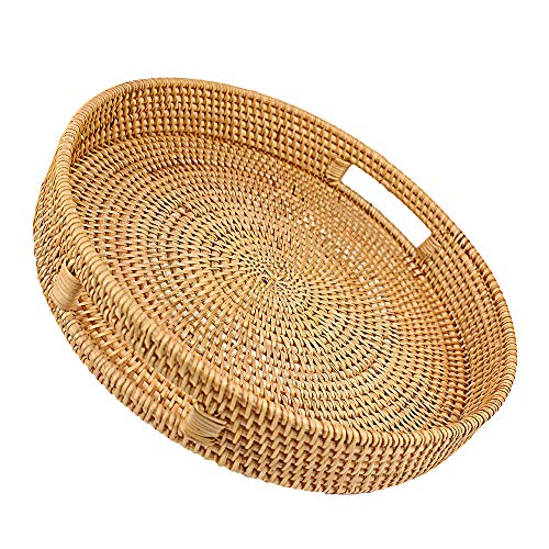 Rattan Basket Round Coffee Table Tray Hand Woven Serving Trays for Ottomans Decorative Trays for Coffee Table Gift Baskets Restaurant Bread Fruit Vegetables Food Serving Display Basket, 14' x 2.8'