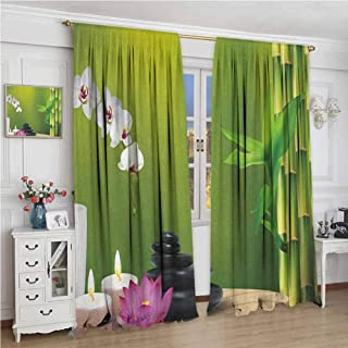 Paddy Benedict Curtains for Living Room W72 x L84 Inch,Insulating Room Darkening Blackout Drapes,Spa,Bamboo Flower Stone Wax on The Table Orchid Rock Healthy Lifestyle Theme, Fern Green Fuchsia White