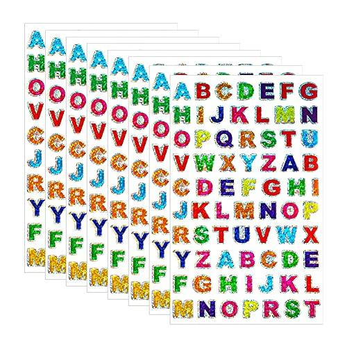 Kaimeilai 80 Sheet Alphabet Autocollant, Couleurs Letter Stickers Alphabet Autocollante Paillettes Stickers, Lettres Adhésives Stickers, pour Scrapbooking Cadeau Enseignement Bricolage Déco