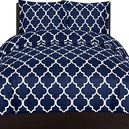 Utopia Bedding Printed Duvet Cover Set (Queen, Navy) - Hotel Quality Luxurious Brushed Velvety Microfiber - Soft and Durable - Wrinkle, Fade and Stain Resistant - Machine Washable