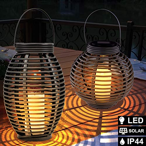 2er Set LED Solar Hänge Lampen Ratten Geflecht Garten Terrassen Kerzen Außen Steh Leuchten