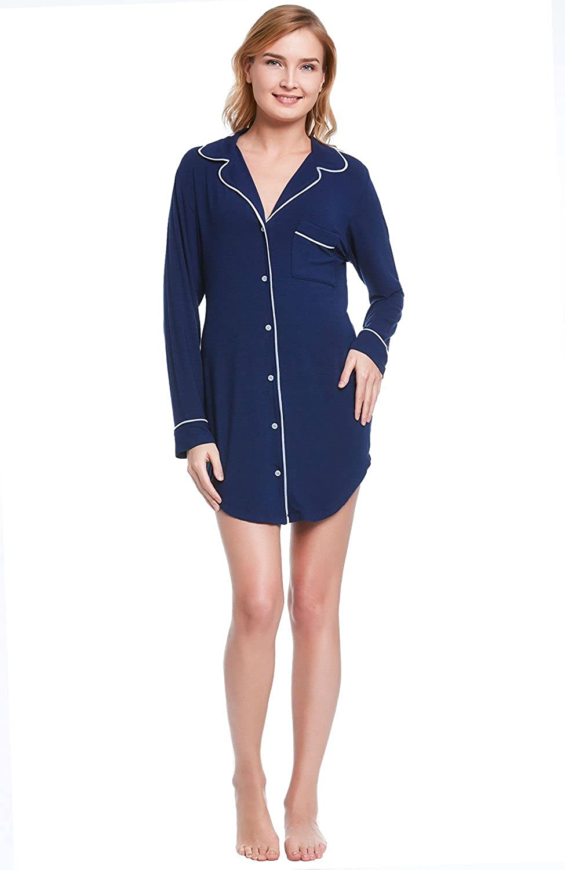 Del Rossa Women's Modal Knit Sleep Shirt, Button Down Boyfriend Style Top