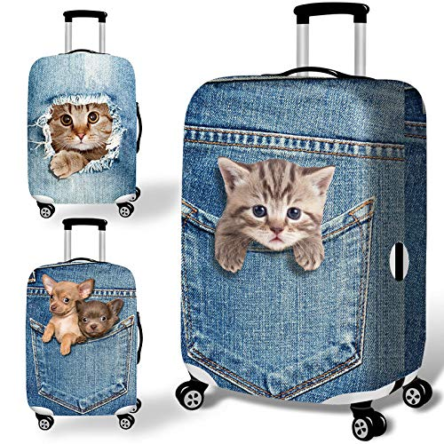 Honana Denim 3D Cute Cat Dog Elastic Luggage Cover Trolley Case Cover Durable Suitcase Protector for 18-32 Inch Case Warm Travel Accessories