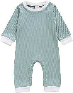 الوليد الصلبة اللون رومبير الرضع كم طويل قطعة واحدة playsuits طفل الفتيات تقليم ribbed بذلة (Color : Green, Kid Size : 9M)