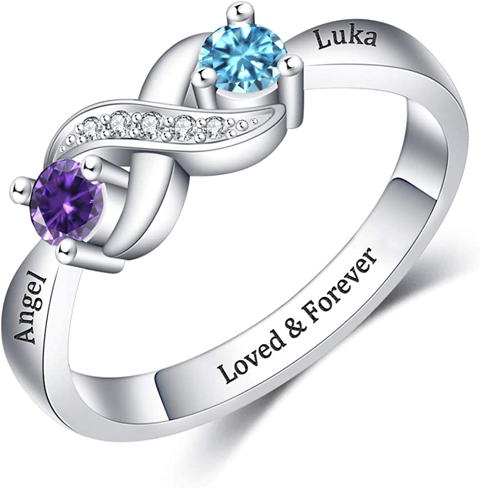 YokeDuck Custom Promise Ring with Personalized Heart Birthstone New trend rank life