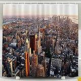 Auld-Shop Bunter Duschvorhang-Duschvorhang-New- York Citysonnenuntergang-Skyline-Vogelperspektive Mit Bürogebäude-Duschvorhang