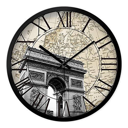 LIJINFEI Sala de Estar Retro Europea Simple Reloj numérico Romano nostálgico del país Europeo y Americano @ 12 Pulgadas Caja Negra del Arco de Triunfo francés