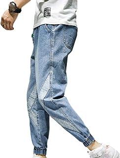 unknow YYXDP Jeans Casual da Uomo, Pantaloni Slim Fit in Vita Elasticizzata con Coulisse Casual, Pantaloni in Denim Stile ...