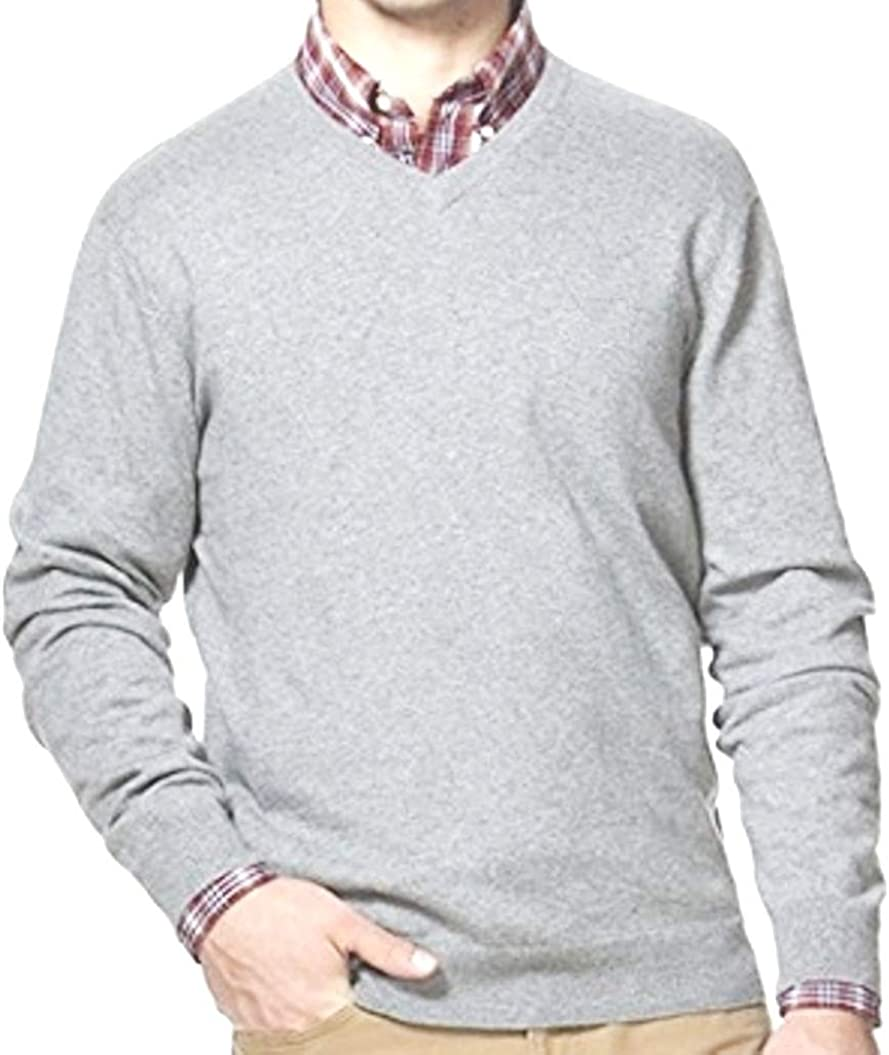 Sonoma Mens Classic Fit V-Neck Pullover Light Grey Sweater Long Sleeves