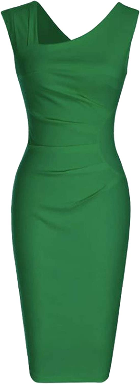 YMING Womens Vintage Slim Fit Dresses Sleeveless Business Pencil Dress Plus Size