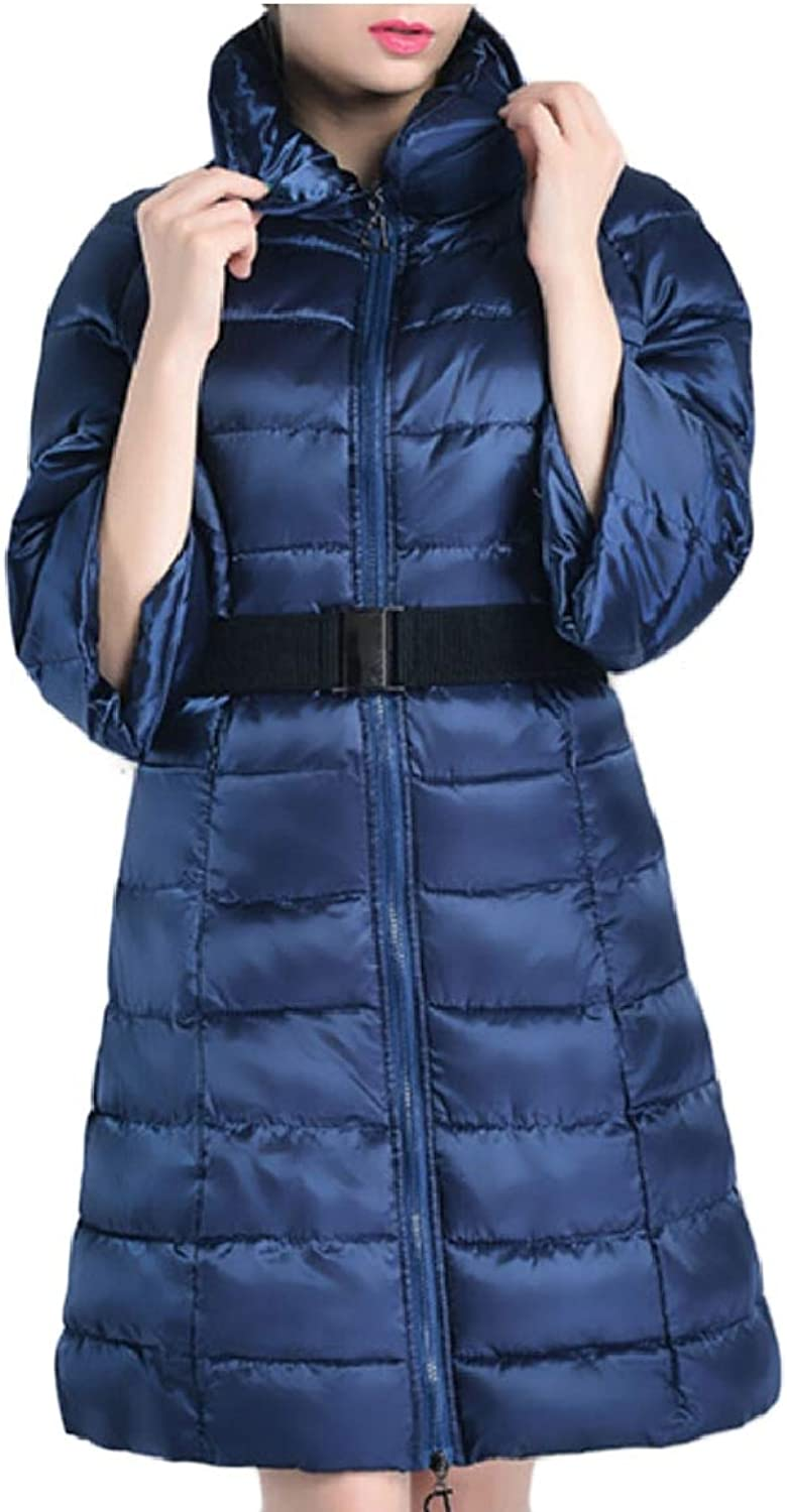 LEISHOP Women Winter Long Jackets Quilted Belted Down Coats Outerwear