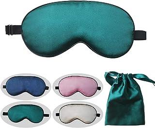 LinkingHome アイマスク、シルク スリープ アイ マスク、軽量 無加圧、昼寝、疲労回復、調節可能な長さ、便利な収納袋、洗える、オフィス、飛行機、車、電車の旅行に適し(濃い緑色)