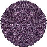 Pelle Leather Shag Round Rug, 4 by 4-Feet, Purple