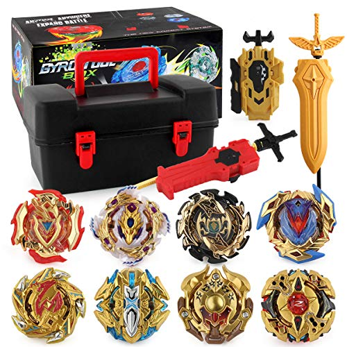 PWTAO Bey Battling Top Burst Launcher Grip Toy Blade Set Game Storage Box 8 Top Burst Gyros 3 Launchers Great Birthday Present for Boys Children Kids
