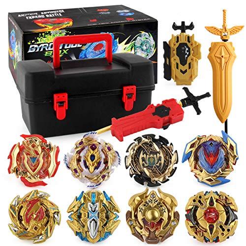 PWTAO Bey Battling Top Burst Launcher Grip Toy Blade Set Game Storage Box 8 Top Burst Gyros 3...