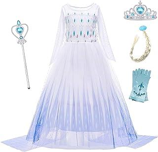 Die Eiskönigin Kleid Kinder Mädchen Frozen 2 Elsa Prinzessin Kostüm Partykleid
