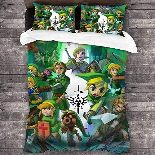 MYLZZ 3D Digital Print Cartoon The Legend of Zelda Duvet Cover Set, Polyester Fibre with Invisible Zip, Duvet Cover and Pillowcase (Y1.220 x 260 cm + 50 x 75 cm x 2)