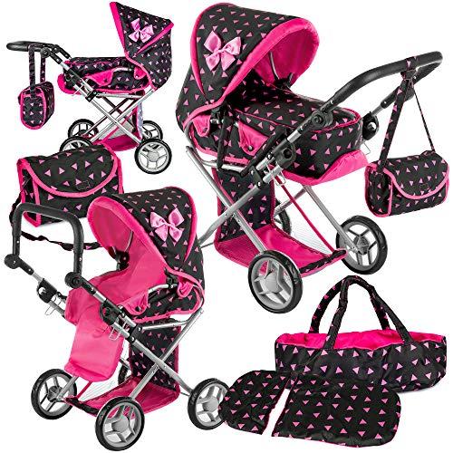 Puppenwagen Kinderplay KP0200R Kinderwagen Puppen Kombi Baby Kinderwagen für Puppe Schwarz Rosa NEU Puppenkar höhenverstellbar, zusammenklappbar, 4-rädriger Tragetasche Babypuppenwagen