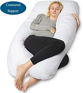 QUEEN ROSE Pregnancy Pillow, U-Shaped Full Body Pillow for Back Support with Cotton Cover for Anyone,White