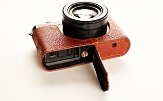Handmade Genuine Real Leather Half Camera Case Bag Cover for Leica D-LUX Typ 109 D-LUX7 Brown Bottom Opening Version