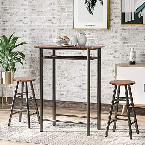 3 Pieces Bar Set, Vintage Country Style Table and Chairs Dining Set, Kitchen Counter Height Dining Table Set with 2 Bar Stools, Built in Storage Layer, Size:78cm x 48cm x 90cm (L x W x H)