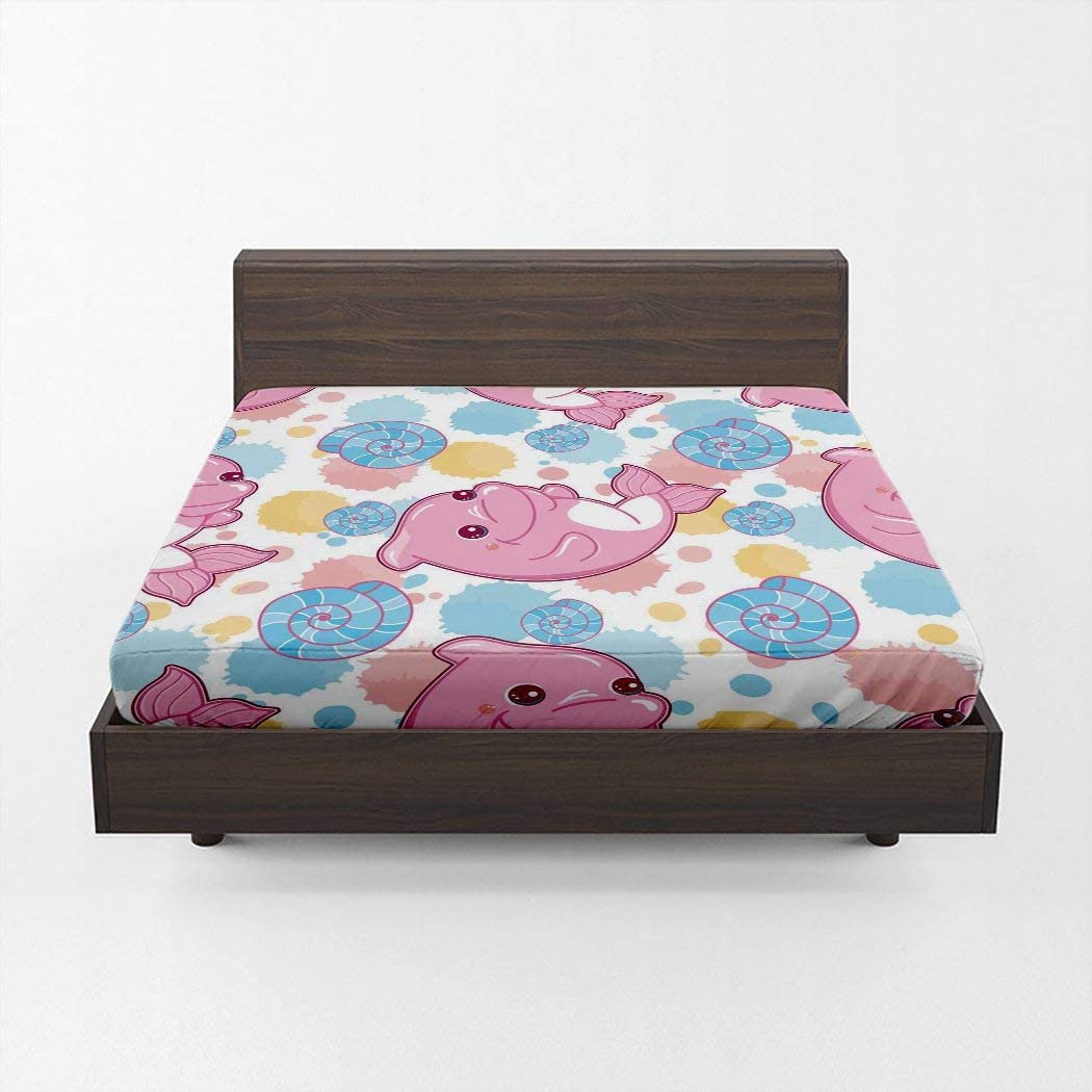 Huipaya Anime Seashell Fitted Sheet Kids in Cute Super special price Discount mail order Style Cartoon
