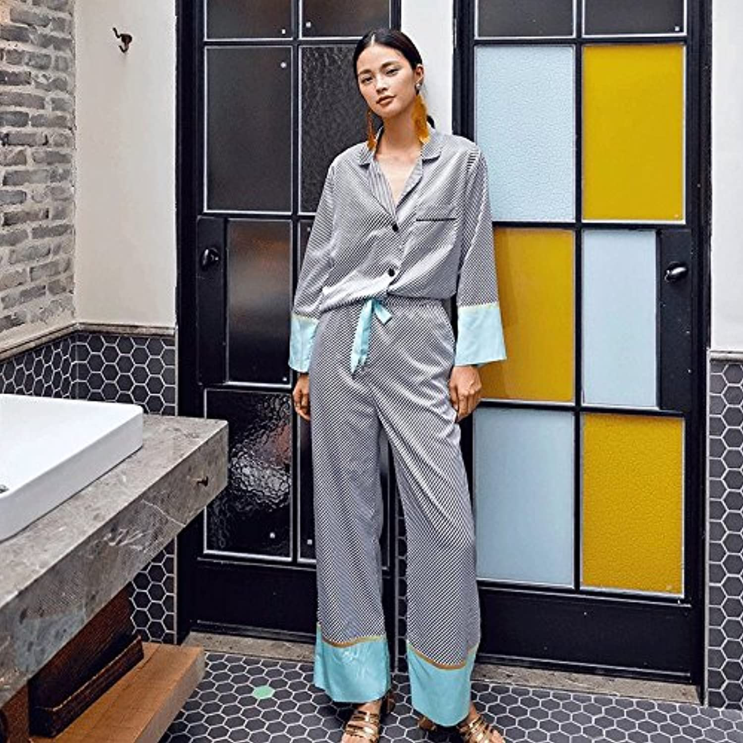LzQuny Nightwear Like A Silk Striped Pajamas Suit,L