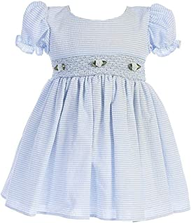 Baby Toddler Girls Cotton Seersucker Hand Smocked Easter Special Occasion Dress (3M-4T)