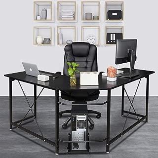 Bonnlo Reversible L Shaped Desk Black Modern Home Office Corner Desk 3-Piece L-Shape Computer Desk with Reversible Tabletop,59.1