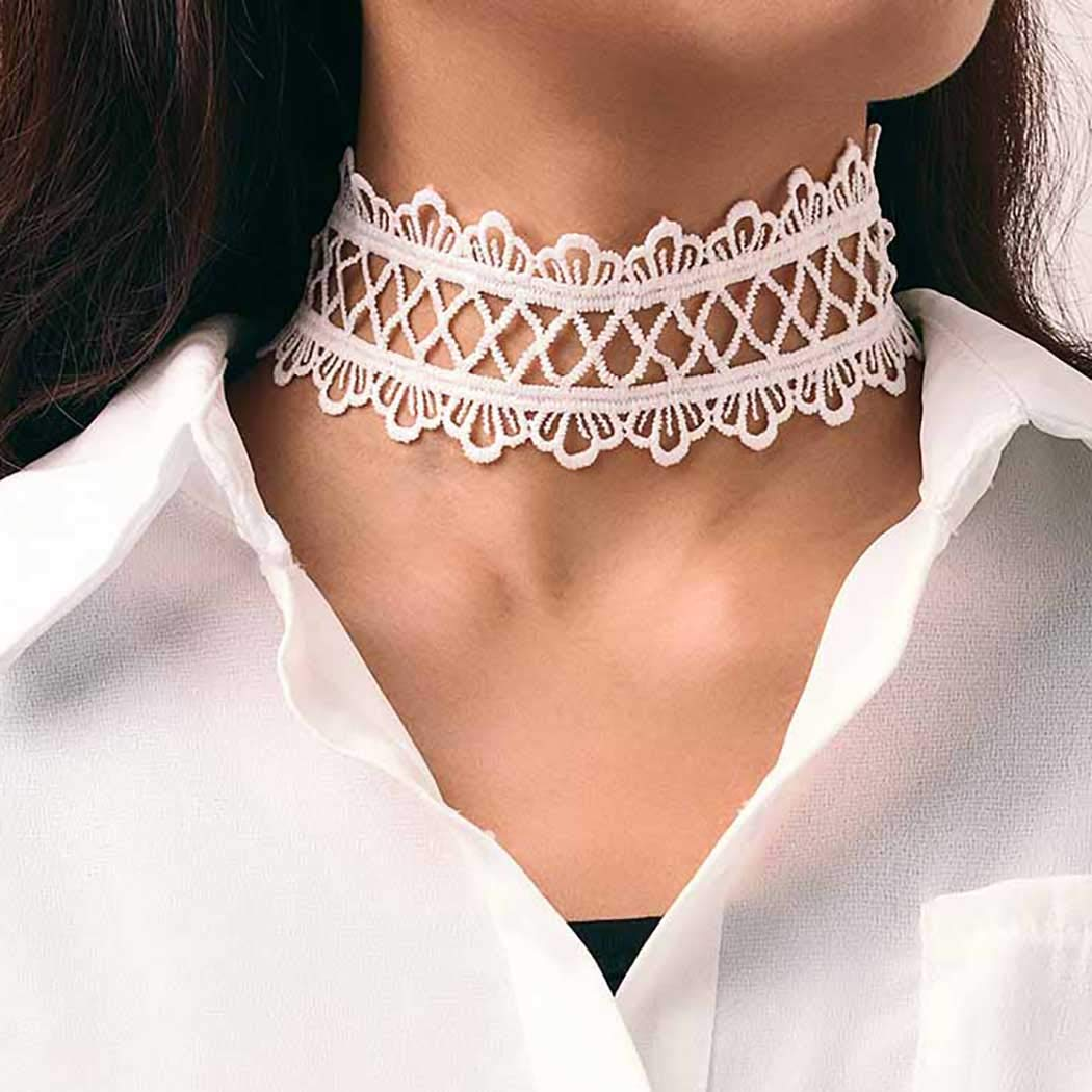 Aetorgc Boho Short Necklace Chain Lace Necklaces Jewelry for Women and Girls (White)