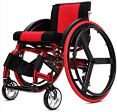 HWZLOIK Wheelchair,Sports and Leisure Wheelchair Folding Light Portable with Ultra Light Aluminum Alloy Quick Release Rear Wheel Shock Absorber Trolley
