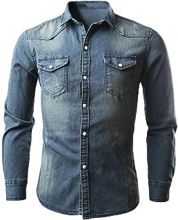 Men Tee Shirt, Denim Shirt Cowboy Long T-Shirts