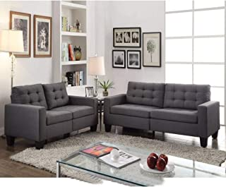 Sofa in Gray Linen Fabric Grey Solid Modern Contemporary