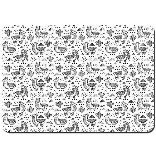 YANAIX Alfombra de Baño,Triángulos Abstractos con Alpacas de Estilo Doodle en patrón...