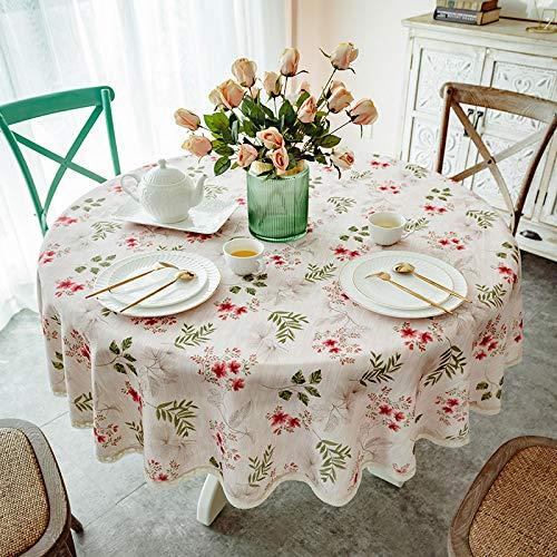 Cofest Tischdecke Rund 140cm Abwischbare Pflanzenblume TischwäSche Aus Baumwolle und Leinen FüR Innen und AußEndekoration Tischdecke RosaKirsche