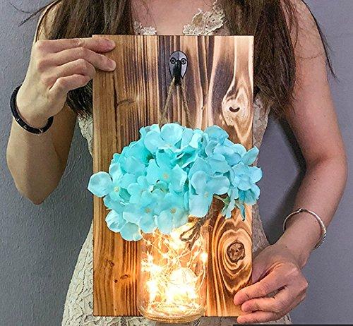 QYL Rustieke hangende glazen wandlamp LED wand van hout zijde hortensia bloem LED strepen wooncultuur blauw