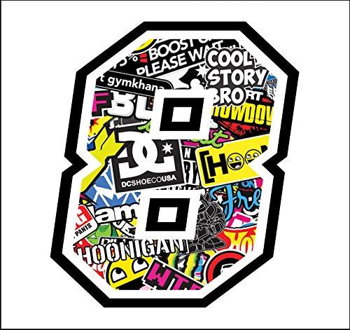 Autocollant Numero 8 Race 12 cm - Sticker Bomb - Autocollants Moto Cross Course