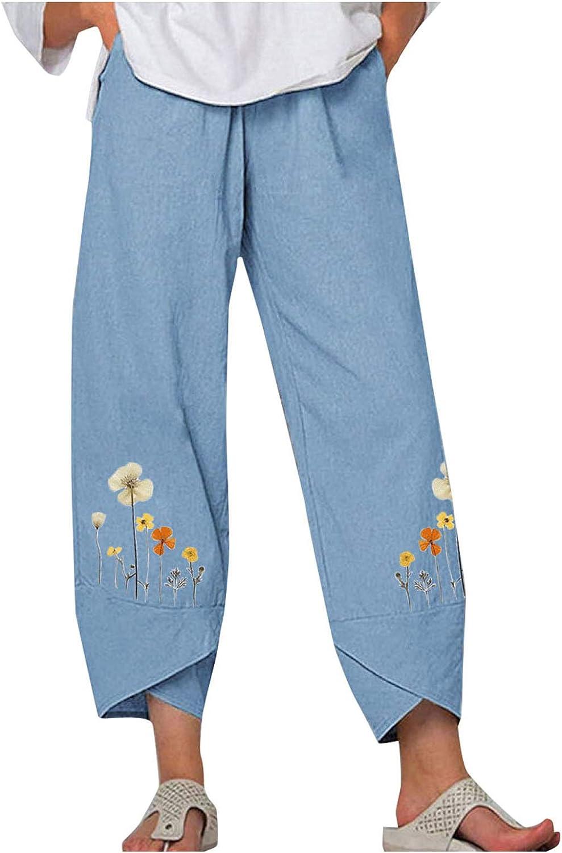 Lroveb High Waist Casual Pants Cotton Linen Loose Flower Printed Embroidery Elastic Waist Summer Wide Leg Pants