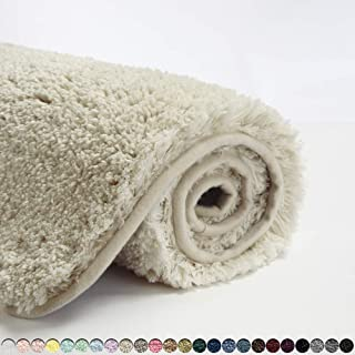 Suchtale Bath Rug for Bathroom Non Slip Bathroom Mat (20 x 32, Light Tan) Water Absorbent Soft Microfiber Shaggy Bathroom ...