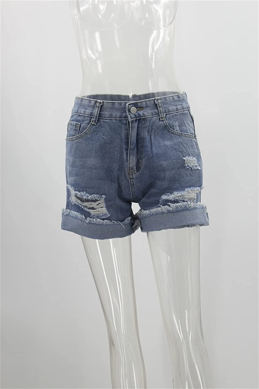 Women's Rolled Hem Ripped Denim Shorts Mid Waist Casual Distressed Jeans Shorts Frayed Raw Hem Mini Hot Short Pants (Light Blue,Small)